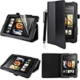 Executive PU Leather Amazon Kindle Fire HDX 7 inch 2013 Case Cover Multi Function Standby Bi-Fold Stand with Built-in Magnet for Sleep / Wake Feature + Screen Protector + Stylus Touch Pen for New Kindle Fire HDX 7-inch 2013 Tablet (Not for Kindle Fire HD
