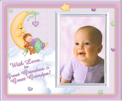 With Love to Great Grandma & Great Grandpa -Girl (MoonBaby) - Picture Frame Gift - 1