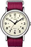 Timex Women's Weekender T2N652 Pink Nylon Analog Quartz Watch with Beige Dial