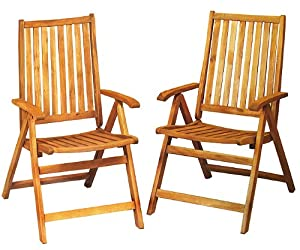 Set Of 2 Acacia Wood Folding Chairs Outdoor Patio Furniture by CC Outdoor Living