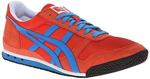 Onitsuka Tiger Ultimate 81 Classic Running Shoe, Red Orange/Blue, 4.5 M US