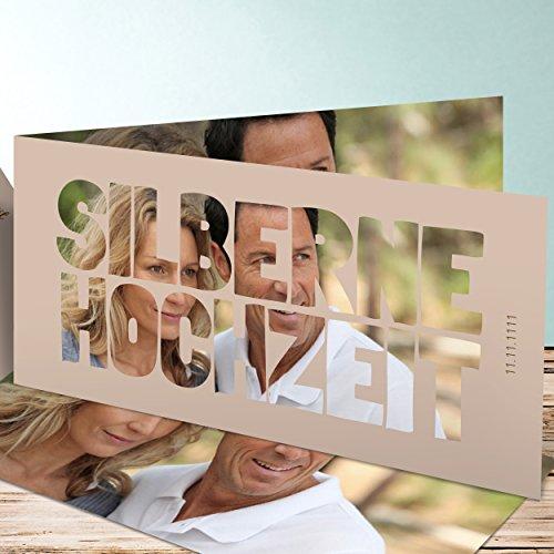lustige einladungskarten zur silberhochzeit liebe durch und durch 5 karten horizontale. Black Bedroom Furniture Sets. Home Design Ideas
