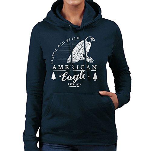 Retro Animal American Eagle White Women's Hooded Sweatshirt