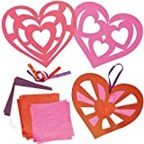 Heart Stained Glass Effect Hanging Decorations (Pack of 6)