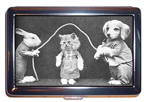 Cat Kitten Puppy Dog Jumprope Antique B&W Pic ID Wallet or Cigarette Case USA Made (Pics Of Dogs W compare prices)