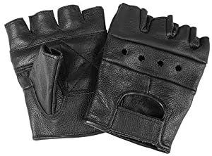 Fingerless Leather Cycle Biker Gym Gloves Cycling Bodybuilding Black SIZE M
