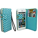 myLife Sky Blue and White - Polka Dot Design - Textured Koskin Faux Leather (Card and ID Holder + Magnetic Detachable Closing) Slim Wallet for iPhone 5/5S (5G) 5th Generation iTouch Smartphone by Apple (External Rugged Synthetic Leather With Magnetic Clip + Internal Secure Snap In Hard Rubberized Bumper Holder)