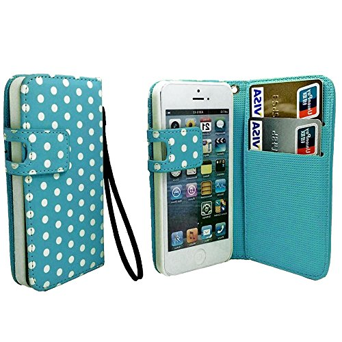 Mylife Sky Blue And White - Polka Dot Design - Textured Koskin Faux Leather (Card And Id Holder + Magnetic Detachable Closing) Slim Wallet For Iphone 5/5S (5G) 5Th Generation Itouch Smartphone By Apple (External Rugged Synthetic Leather With Magnetic Clip