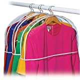 "Clear Vinyl Shoulder Covers Set of 12 Closet Suit Protects Storage Home Decor Size: 12""H x 22""W x 2""D"