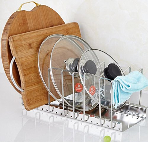 Homeself Adjustable Kitchen Houseware, Cabinet and Pantry Organizer Rack, Pot Lid Rack (Sliver)
