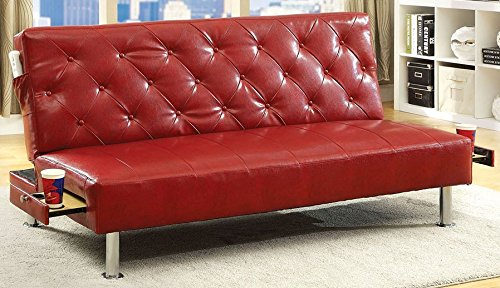 Farel collection contemporary style red leatherette upholstery futon / chaise / sofa with slide out cup holders and chrome legs