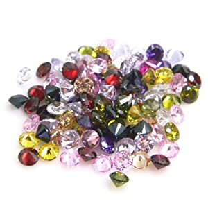 Round 2mm Multi Color Mix CZ Loose Cubic Zirconia Lot of 25 Pieces