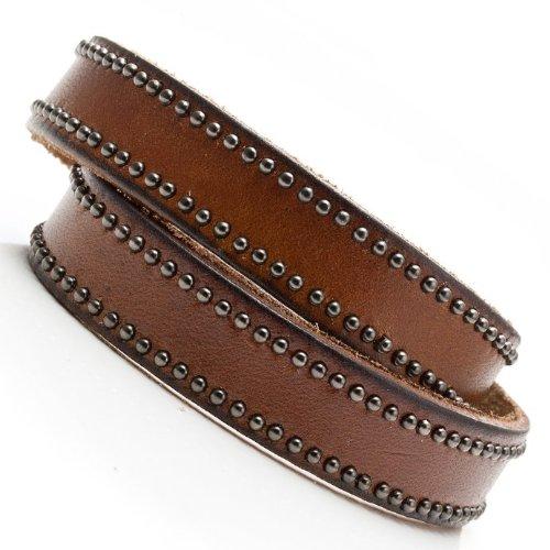 Desert Vibes Men Leather Bracelet Cuff Jewelry (Chocolate Brown)
