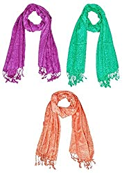 Letz Dezine Viscose Scarf Set of Three mullticoloured stoles; Scarf and Stoles for Women