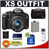 Canon Digital Rebel XS 10.1MP Digital SLR Camera (Black) + Canon EF-S 18-55mm IS Lens + Spare LP-E5 Battery + 4GB Card + Gadget Bag