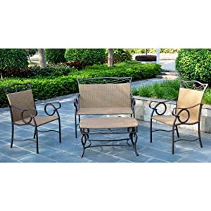 VALENCIA 4 PIECE RESIN WICKER and STEEL LOVESEAT SET - LOVESEAT, COFFEE TABLE + 2 CHAIRS - PATIO