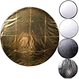 CowboyStudio 43-Inch Round Photography Studio Multi Disc Light Reflector, 5 in 1: Translucent, Silver, Gold, White, and Black