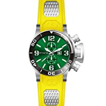 Invicta Corduba GMT Green Dial Stainless Steel Yellow Rubber Mens Watch 80220