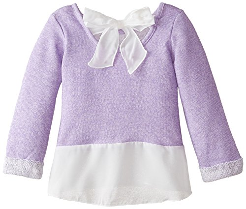 887847676298 - Nannette Little Girls' 2Pc Fashion Knit Pant Set with French Terry Top, Purple, 4 carousel main 1