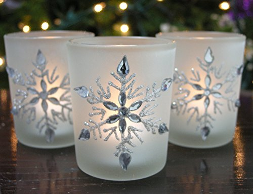 "Snowflake Votive Candleholders With Flameless Flickering Led Candles Set Of 3 Frosted Glass Glittery Snowflakes With Jewels -- 2-3/4""H"
