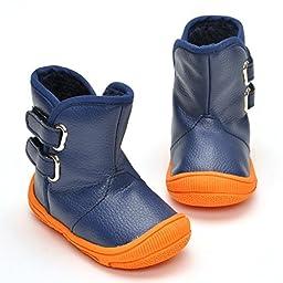 LIVEBOX Infant Baby Boys\' Premium Soft Rubber Sole Anti-Slip Warm Winter Prewalker Toddler Boots (M: 6~12 months, Navy Blue)