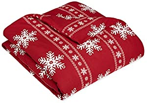 AmazonBasics Printed Lightweight Flannel Duvet Cover - Full/Queen, Snowflake Bordeaux
