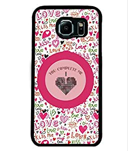 PRINTVISA You Complete me Love Premium Metallic Insert Back Case Cover for Samsung Galaxy S6 - D5829