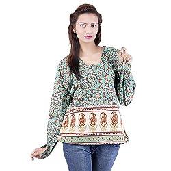 Jaipur Kala Kendra Women's Casual Wear Turquoise Cotton Top