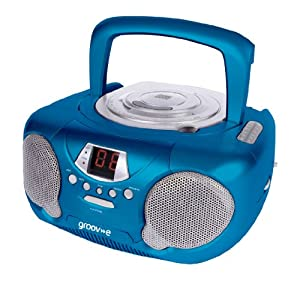 Groov-e GVPS713BE  Boombox Portable CD Player with Radio - Blue