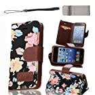 i5c Case, For iPhone 5C Cases for girls Elegant Flower and Deluxe Book Style Folio PU Leather Wallet with Magnet Design Flip Case Cover, Credit Card Holder By Obring(TM) (Black, iPhone 5C)