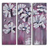 TJie Art Hand Painted Mordern Oil Paintings Snowy Petals on Pink 3-Piece Canvas Wall Art Set Three-piece painting in pink/gray/white,Hand-painted by talented artist in modern style,Acrylic paints over gallery stretched canvas wooden frames