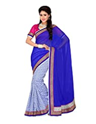 Ambitions Fashion Women's Blue And Off White Raw Silk Lace Saree