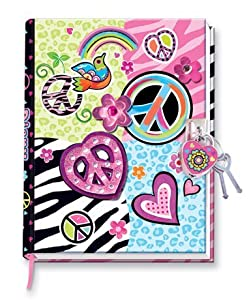 Peace Sign & Zebra Girls Diary with Heart Lock and Keys - Hardcover Secret Journal