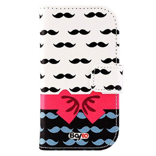 Bayke Brand / Samsung Galaxy S4 Mini (Mini Only) I9190 Pu Leather Wallet Case With Stand With Magnetic Clip With Credit Card Slots & Holder (Como Mustache Pattern)