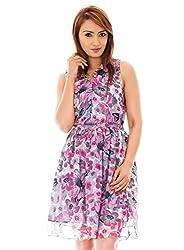 Pink Color Flower Print Collar Dress