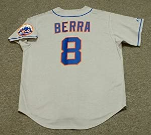 YOGI BERRA New York Mets 1973 Majestic Cooperstown Throwback Away Baseball Jersey, 2XL