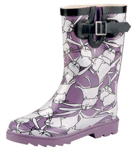 Natural Breeze Children's Rubber Rain Boots Cat Design