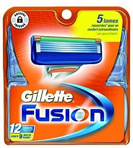 Gillette Lames Fusion Testé Dermatologiquement x 12