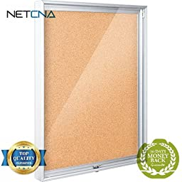 94CAA-01 Economy Enclosed Bulletin Board Cabinet (Natural Cork) - Free NETCNA Touch Screen Pen - By NETCNA