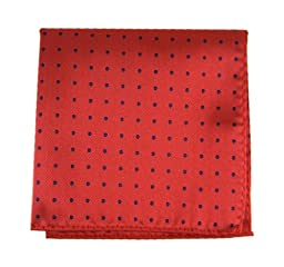 100% Woven Silk Red Hot Dots Patterned Pocket Square