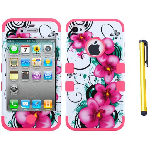Fits Apple Iphone 4 4S Hard Plastic Snap On Cover Morning Petunias/Electric Pink Tuff Hybrid At&T, Verizon (Does Not Fit Apple Iphone Or Iphone 3G/3Gs Or Iphone 5)