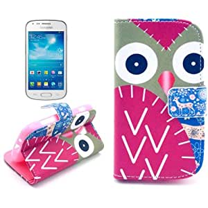 Trendz Owl Pattern Leather Case With Card Slots & Holder For Samsung Galaxy Trend Duos S7562