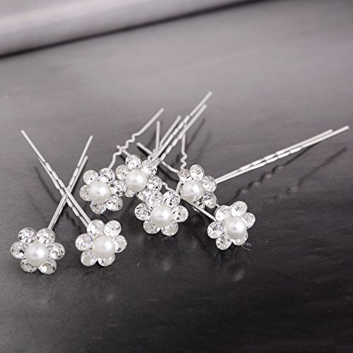 Yantu Womens Flower Bridal Wedding Hair Pin with Crystal (Pack of 20) (6 crystal+bead)