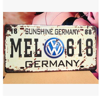 VW MEL-618 Germany Vintage Auto License Plate, Embossed Tag Size 6