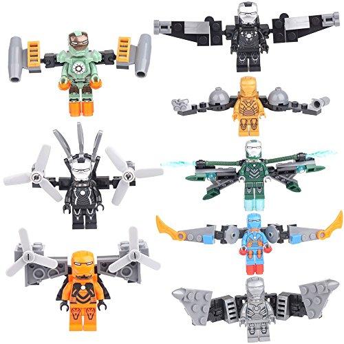 8 Minifigures IRON MAN MK21 MK2 MK29 MK32 MK37 MK31 Building Bricks Toys lE GO