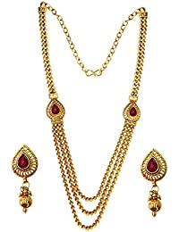 Women Fashion Jewellery Indian Bollywood Style Gold:Brown Traditional Three Layer Haram Maharani Design Necklace...