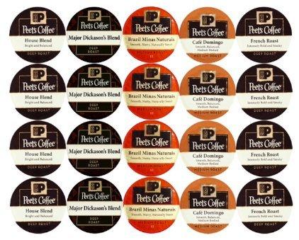 New 20 K Cup Peets Coffee Sampler Variety Pack No Decaf