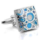 Justeel メンズ ロジウムメッキ エナメル カフス カフスボタン セット キュービックジルコニア シルバー ブルー シャツ 結婚式 (ギフトバッグを提供)
