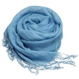 (トライバル)TRIBAL 麻素材 自然派オールリネン 羽織りにも活躍する大判サイズ シンプルナチュラルリネンストール ブルー