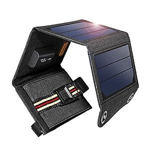 suaoki ソーラーチャージャー 7W ソーラーパネル 4枚搭載 折りたたみ式 USB自動検知機能搭載